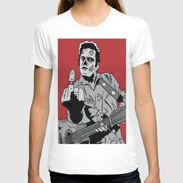Johnny Cash Zombie Portrait Giving the Finger Print T-shirt