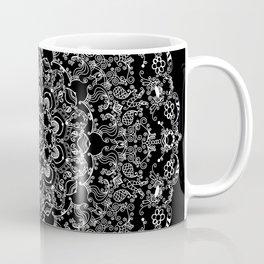 Mandala Project 212 | White Bohemian Lace on Black Coffee Mug