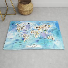 Cartoon animal world map, back to school. Animals from all over the world, blue watercolour watercolor Rug