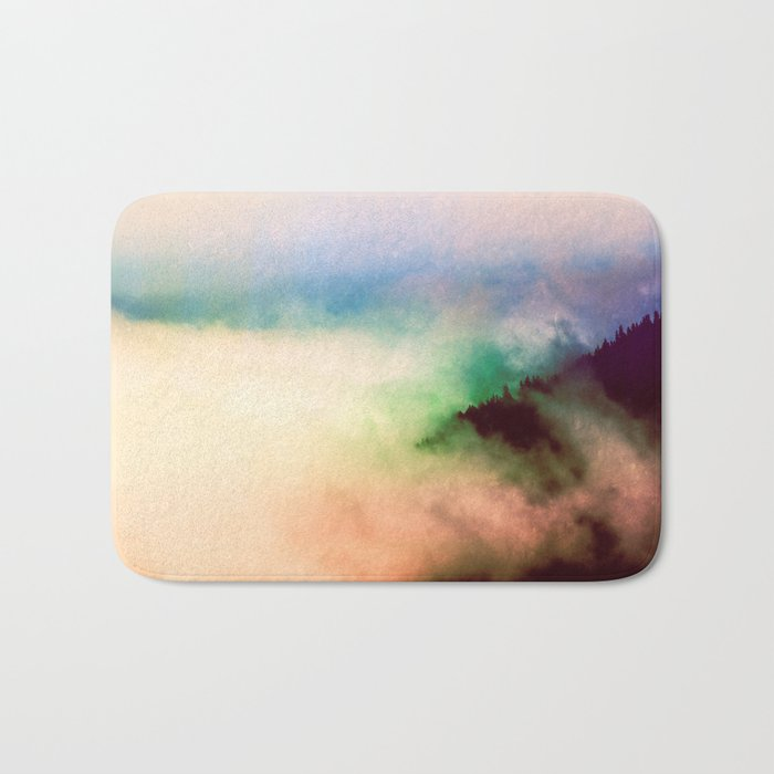 Ethereal Rainbow Clouds Bath Mat