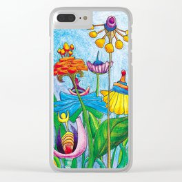 Blue Garden Clear iPhone Case