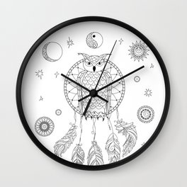dreamcatcher with owl, yin yang, moon and sun Wall Clock