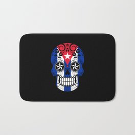 Sugar Skull with Roses and Flag of Cuba Bath Mat