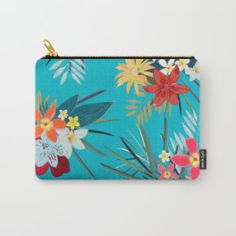 Frangipani, Lily Palm Leaves Tropical Vibrant Colored Trendy Summer Pattern Carry-All Pouch