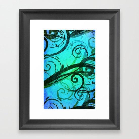 Blue Rustic Swirls Framed Art Print