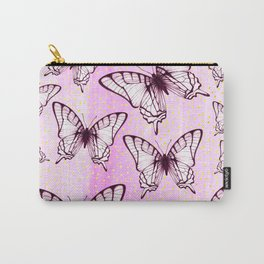 butterfly pattern on pastel pink Carry-All Pouch