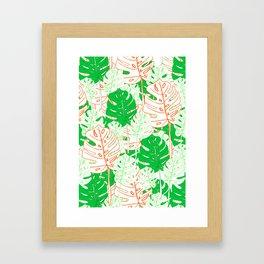 Banana Leaf in Coral Framed Art Print