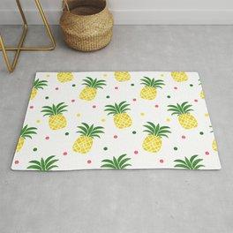 Tropical fruit sunshine yellow green pineapple polka dots Rug