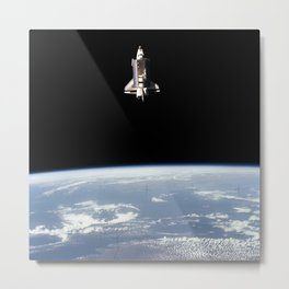 993. View of the shuttle Challenger from the SPAS-01 satellite Metal Print
