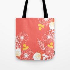 Coral Retro Floral Tote Bag