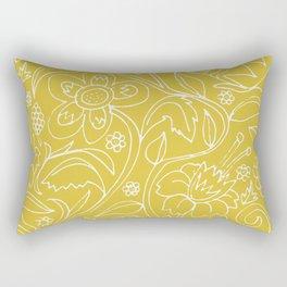 Garden Floral Drawing on Yellow Rectangular Pillow