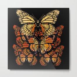 CREAM & RUST COLOR MONARCH BUTTERFLIES BLACK PATTERN ART Metal Print