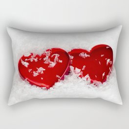 Love Hearts in Snow Rectangular Pillow