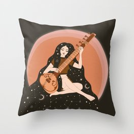 Sitar Girl Ethnic, Indian Inspired, Cosmic   Throw Pillow