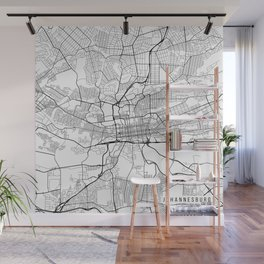 Johannesburg Map, South Africa - Black and White Wall Mural