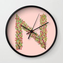 Leafy Letter N Wall Clock