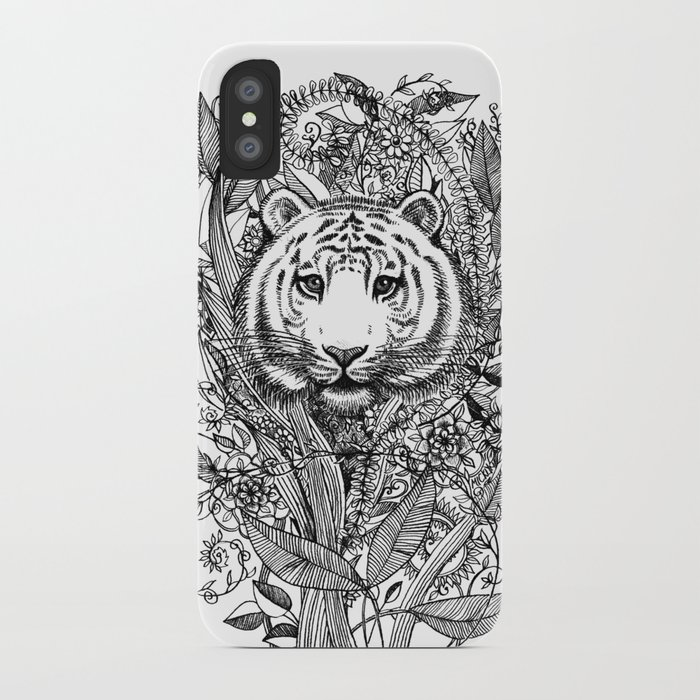 Tiger Tangle in Black and White iPhone Case