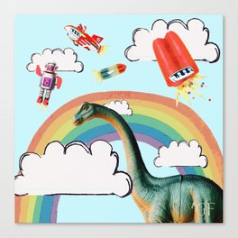 """busy skies"", thought the dinosaur Canvas Print"