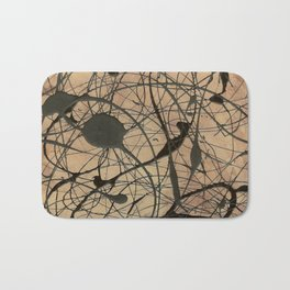 Pollock Inspired Cool Abstract Splatter Drip Painting Bath Mat