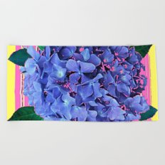 BLUE ABSTRACTED HYDRANGEA YELLOW-PINK Beach Towel