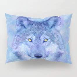 Sky blue wolf with Golden eyes Pillow Sham