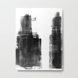 Black and White Minimalist Abstract Monotype Metal Print