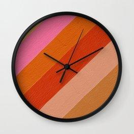 Diagonal Color Blocking – Retro Palette Wall Clock