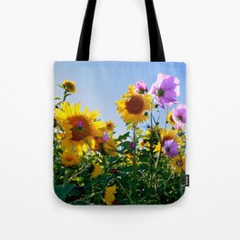 Breezy Sunflower Cosmos Day Tote Bag