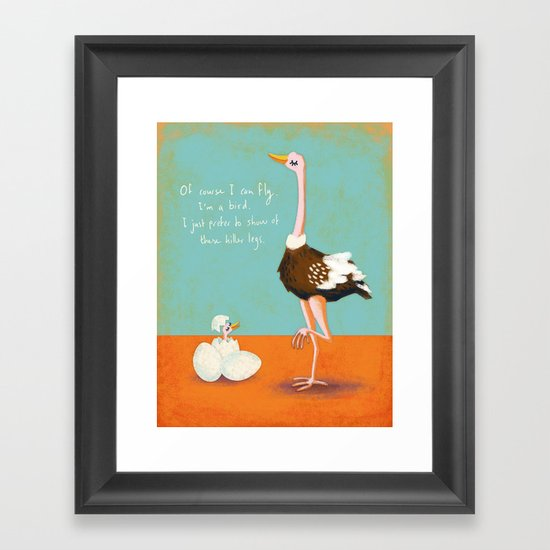 Confident Ostrich Framed Art Print