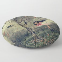 Girl on a swing in the woods Floor Pillow