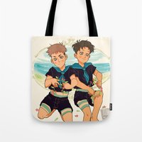 johannathemad Tote Bags featuring at the beach by JohannaTheMad