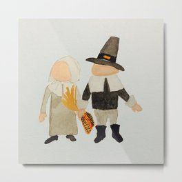 Thanksgiving Pilgrim Toddler Girl and Boy Couple Metal Print