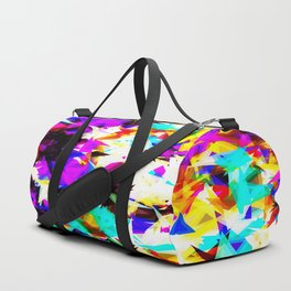 psychedelic geometric triangle abstract pattern in purple pink blue yellow red Duffle Bag