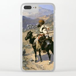 "Frederic Remington Western Art ""An Indian Trapper"" Clear iPhone Case"