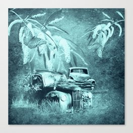 cars and butterflies in moonlight Canvas Print
