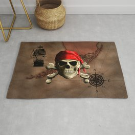 The Jolly Roger Pirate Map Rug