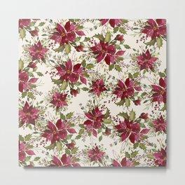 Poinsettia Pattern Metal Print