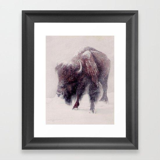Buffalo Blizzard painting Framed Art Print