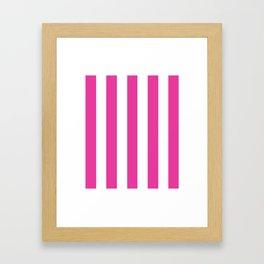 Strong boy pink - solid color - white vertical lines pattern Framed Art Print