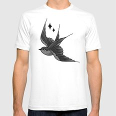 Swallow Flash - mono SMALL Mens Fitted Tee White