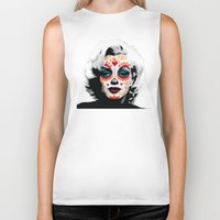 marylin monroe Biker Tanks featuring Marylin de los Muertos 1 by jazzyjules63