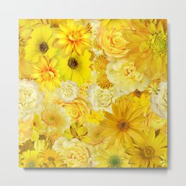 yellow rose bouquet with gerbera daisy flowers Metal Print