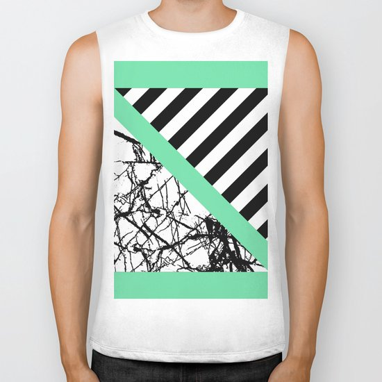Stripes N Marble - Black and white geometric stripes and marble pattern, bold on green background Biker Tank