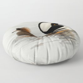 A Tale of Two Hooded Mergansers Floor Pillow