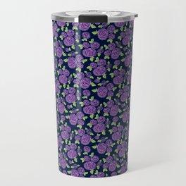 Painted Purple Roses Travel Mug
