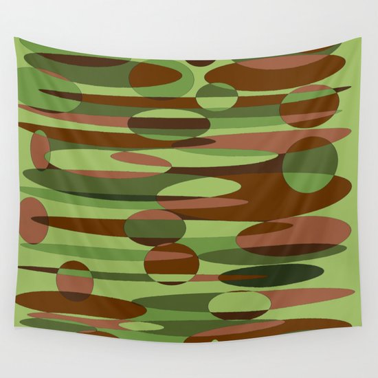 Trendy Green and Brown Camouflage Spheres Wall Tapestry