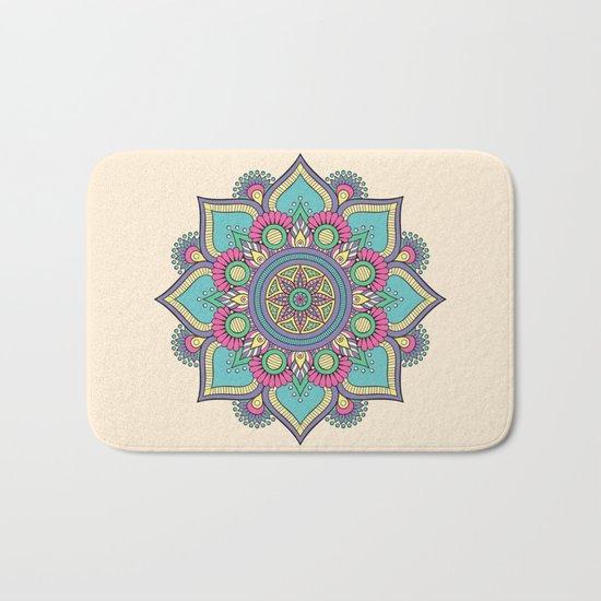 Colorful Abstract Floral Mandala Bath Mat