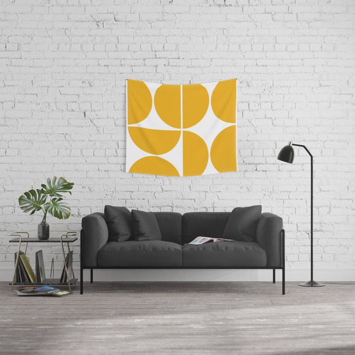 Mid Century Modern Yellow Square Wall Tapestry
