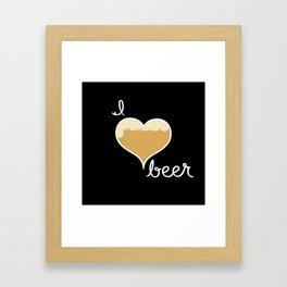 I love Beer white text Framed Art Print