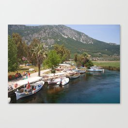 Fishing Boats on The River Azmak Akyaka Turkey Canvas Print